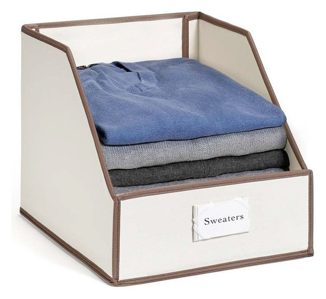 Collapsible Clothing Storage Bins With Easy Access, Flip Down Front Panel,  Ivory