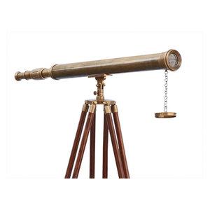 Floor Standing Antique Brass Harbor Master Telescope 60''