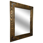 """Renewed Decor - Shiplap Framed Mirror With Decorative Corner Brackets, Driftwood, 36""""x30"""" - Give any room in your home charm with this handmade reclaimed styled wood mirror. The wood has been given new life sanded and restored. It now it deserves a place to rest holding a mirror for your family and friends to enjoy for years to come"""