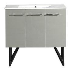 "Swiss Madison Annecy 36"" Single 2-Doors 1-Drawer Bathroom Vanity, Gray"