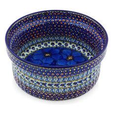 "Polish Pottery 8"" Stoneware Souffle Dish Hand-Decorated Design"