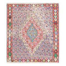"Consigned, Vintage Tribal Square Kilim Flat-Woven Senneh Oriental Rug 4'6""x4'1"""