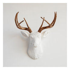 Faux Deer Head, White and Bronze