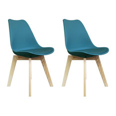 Scandi Wood X Dining Chair, Teal, Set of 2