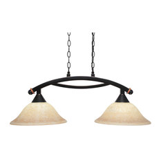 "Bow 2 Light Island Light Black Copper Finish, 12"" Italian Marble Glass"