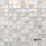 """Oceanside Glass & Tile - Oceanside Glass & Tile, Tessera 1""""x1"""" Veil Blend - A classic square mosaic in a soft white blend, Veil Blend adds depth mixing translucent and opaque white glass tile in Iridescent and Non-Iridescent finish. Ready to install on your floor or wall in a kitchen, bathroom, fireplace, or pool."""