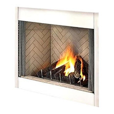 "Superior 42"" Electronic Fireplace With White Stacked Panels, Natural Gas"