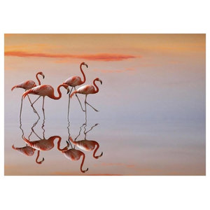 Anna Cseresnjes Flamingo Parade Canvas Art Tropical Prints And Posters By Trademark Global