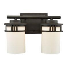Ravendale 2-Light Vanity, Oil Rubbed Bronze With White Glass Shade