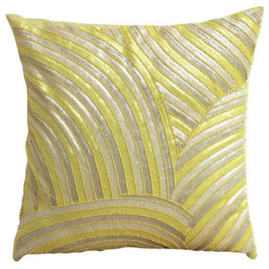 Sequins & Beaded 60x60 Art Silk Yellow Pillow Shams, Pearly Yellow