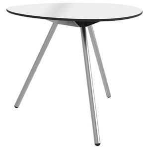 Dine A-Lowha Dining Table, White, Stainless Steel Frame