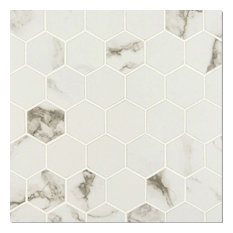 "12""x12"", Statuario Matte White Porcelain Mosaic Tile Bathroom Kitchen Backsplash"