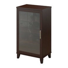 Media Cabinet in Mocha Cherry Finish With Adjustable Shelves and Wire Management