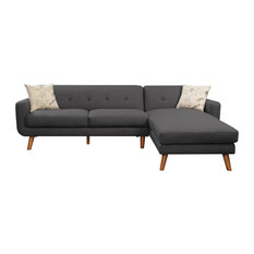 Emerald Home Remix 2-Piece Sectional, Charcoal Gray