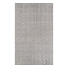 Hand-Loomed Chalet Herringbone Cotton Flatwoven Rug, Gray, 8'x10'