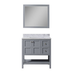 Winterfell 36-inch Vanity Gray Marble Top Square Sink Mirror