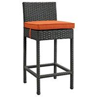 Modern Contemporary Urban Outdoor Patio Balcony Bar Stool Chair, Orange, Rattan