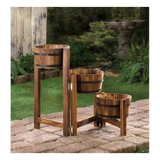 50 Most Por Rustic Outdoor Pots and Planters for 2018 | Houzz Exterior Wooden Planters on exterior decking, exterior bells, exterior garden, exterior walkways, exterior bollards,