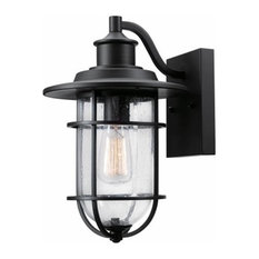 Globe Electric 1-Light Outdoor Wall Sconce, Black