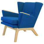 "Lewis Interiors - Mid Century Modern Handcrafted Lounge Accent Wingback Chair Bright Blue, Dark Wo - One of our most popular mid century modern chairs for sale, our Short Back Lounger (SBL) mid century modern lounge chair is the streamlined club-version of our famous Lewis Tall Lounger. This low back, sleek chair has the same base dimensions as our LTL mid century modern lounge chair, but it features a 11"" shorter back. This design gives your room space the retro lounge feel you're looking for.  It also looks absolutely fabulous paired with our ottoman! Don't pay for a mass manufactured, low quality mid century modern lounge chair when you can have custom, handcrafted SBL mid century modern chairs made to your exact specifications!"