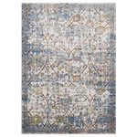 "Lexmod - Minu Distressed Floral Lattice 5""x8"" Area Rug , Light Blue, Yellow and Orange - Make a sophisticated statement with the Minu Distressed Floral Lattice Area Rug. Patterned with an elegant design, Minu is a durable machine-woven polypropylene rug that offers wide-ranging support. Complete with a durable rubber bottom, Minu enhances traditional and contemporary modern decors while outlasting everyday use. Featuring a distressed lattice design with a High Density low pile weave, this non-shedding area rug is a perfect addition to the living room, bedroom, entryway, kitchen, dining room or family room. Minu is a family-friendly stain resistant rug with easy maintenance. Vacuum regularly and spot clean with diluted soap or detergent as needed. Create a comfortable play area for kids and pets while protecting your floor from spills and heavy furniture with this carefree decor update for high traffic areas of your home."