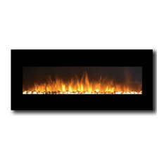 """Rigel 50"""" Black Ventless Heater Electric Wall Mounted Fireplace, Pebble"""
