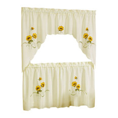 "Sunshine Embellished Tier and Swag Window Curtain Set, 58""x36"""