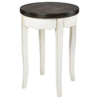 Hartford End or Side Table in White With Dark Wood