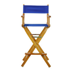 "30"" Director's Chair With Honey Oak Frame, Navy Blue Canvas, Royal Blue Canvas"