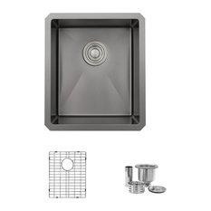 STYLISH 16in Graphite Black Single Bowl Undermount Stainless Steel Kitchen Sink