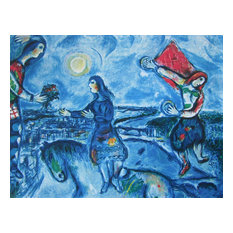 Lovers Over Paris, Limited Edition, Offset Lithograph, Marc Chagall