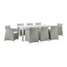 Junction 9-Piece Outdoor Wicker Rattan Dining Set, Gray White