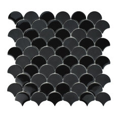 SomerTile Expressions Scallop Glass Mosaic Floor/Wall Tile, Black, Case of 10