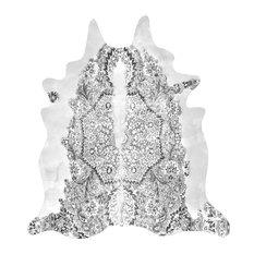 Persian Faux Cowhide Rug, Grey, 150x165 cm