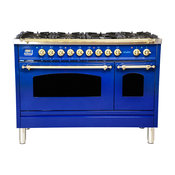 "48"" Double Oven Dual Fuel Italian Range 7-Burners and Griddle, Blue"