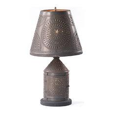 Punched Tin Fireside Dual Lamp Lantern, Blackened Tin Chisel