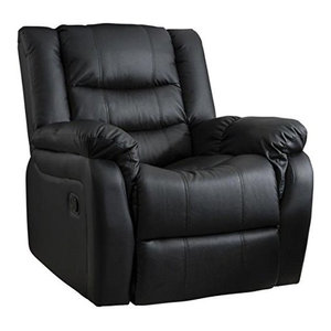 Modern Recliner in PU and Bonded Leather, Extra Padded, Black
