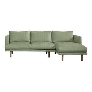 Ottilie Chaise Sofa, Sage, 3 Seater, Right Hand Facing