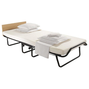 Contemporary Single Folding Bed, Black Finished Steel Frame with Foam Mattress