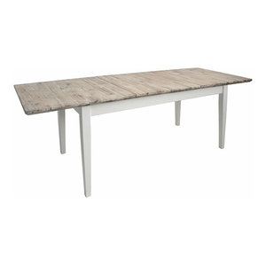 Consigned Rectangular Table, Oak Finished Top and Legs, White