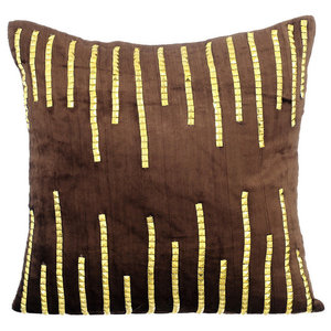 3D Sparkly Sequins 30x30 Velvet Brown Cushions Cover, Gold Jeweled Strings