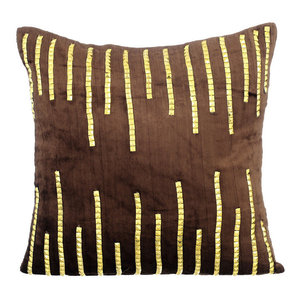 3D Sparkly Sequins 45x45 Velvet Brown Cushions Cover, Gold Jeweled Strings