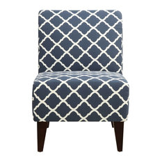North Accent Slipper Chair, Blue Pattern