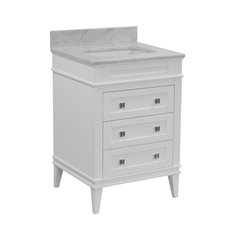 "Eleanor Bathroom Vanity, White, 24"", Carrara Marble Top"