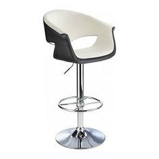 Apene Height Adjustable Bar Stool With Padded Back, White