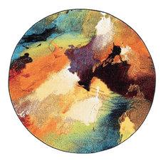 Vida Contemporary Abstract Multi-Color Round Area Rug, 5' Round