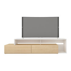 Nexera 112039 Tonik TV Stand 72-inch Natural Maple And White