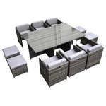 MangoHome - Outdoor Patio Wicker Furniture All Weather, Dining Table and Chair, 11-Piece Set - Outdoor Patio Wicker Furniture All Weather Resin 11-Pc Dining Table & Chair Set