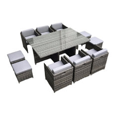 MangoHome - Outdoor Patio Wicker Furniture All Weather, Dining Table and Chair, 11-Piece Set - Outdoor Dining Sets