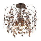 Country Ceiling Lamp Rust Brown with Leaves and Crystal Droplets - Serga